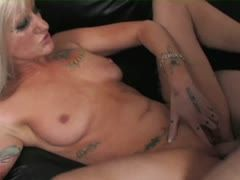 Tattoo porn star fucks with amateur