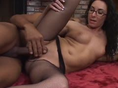 Shaved cunt in fish-net pantyhose
