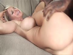 Busty blondie is banged by a black