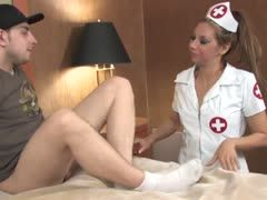 Nurse pampers him with sucking