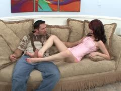 Quick foot sex on the sofa
