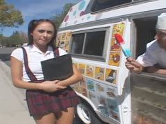 Student is banged in the ice-cream van